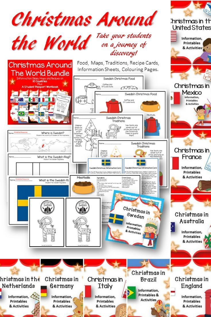 Christmas Around The World Bundle Maps Flags Information Cards Recipes