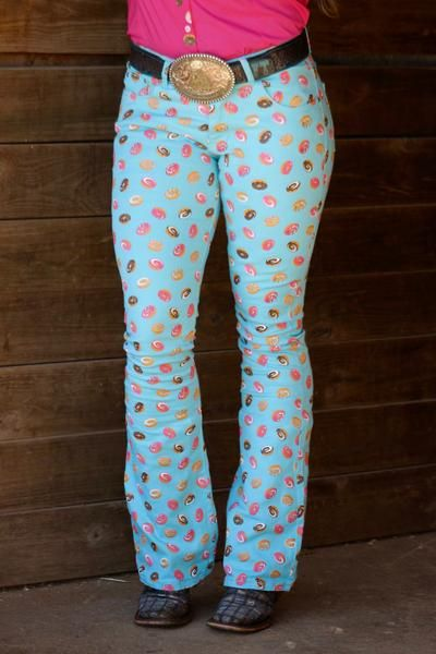 45c4e2a7e6340 TURQUOISE DONUT JEANS - ADULT – Ranch Dress'n | barrel racing stuff in 2019  | Fallon taylor, Turquoise jeans, Rodeo outfits