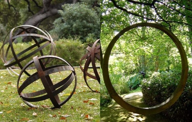 Cortenstahl Garten Einsatz Gartenskulpturen Kunst Otdoot Kreis