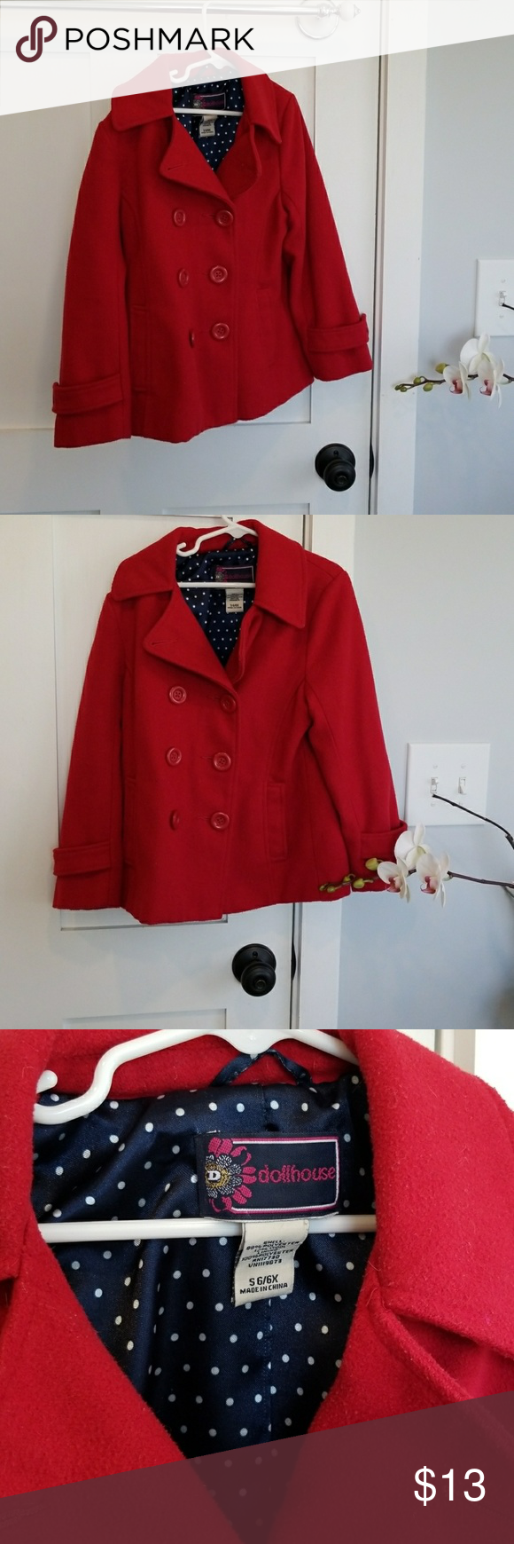 9f991d383b0 Holiday Coat Girls 6 6X Adorable Pea Coat. Contains wool. Jackets   Coats  Pea Coats