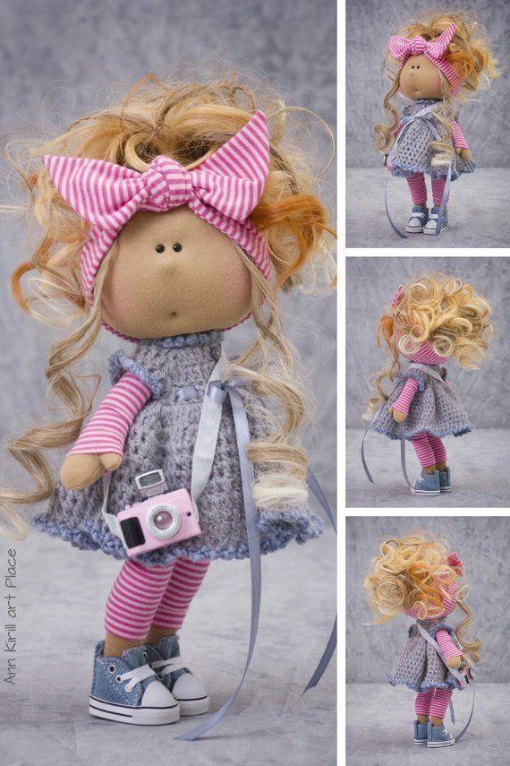 Tilda Rag Doll, Russian Art Doll, Summer Baby Doll, Special Girl Gift, Interior Decor Doll, Nursery Decor Doll Portrait Pink Doll by Alena R