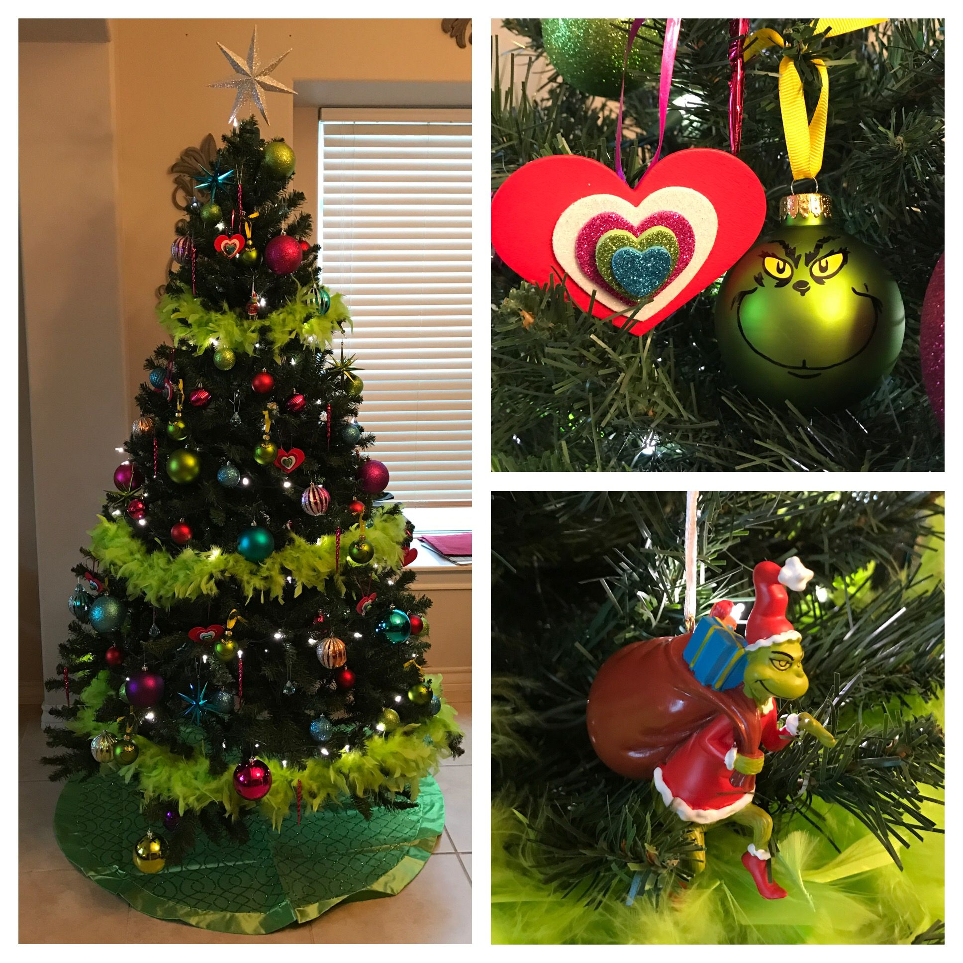 The grinch christmas tree the heart was homemade the back is wood
