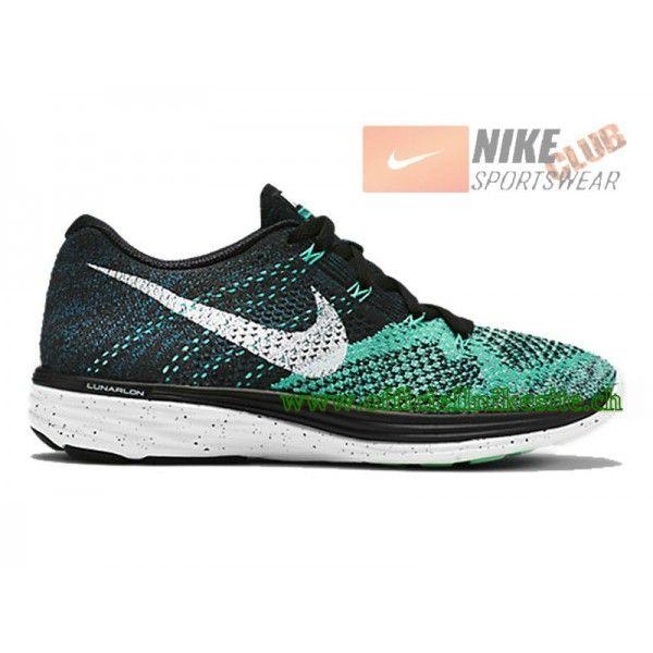 wholesale dealer a90ec 54c19 Nike Flyknit Lunar 3 GS Chaussures de Running Pour Femme Noir Vert  698182-005