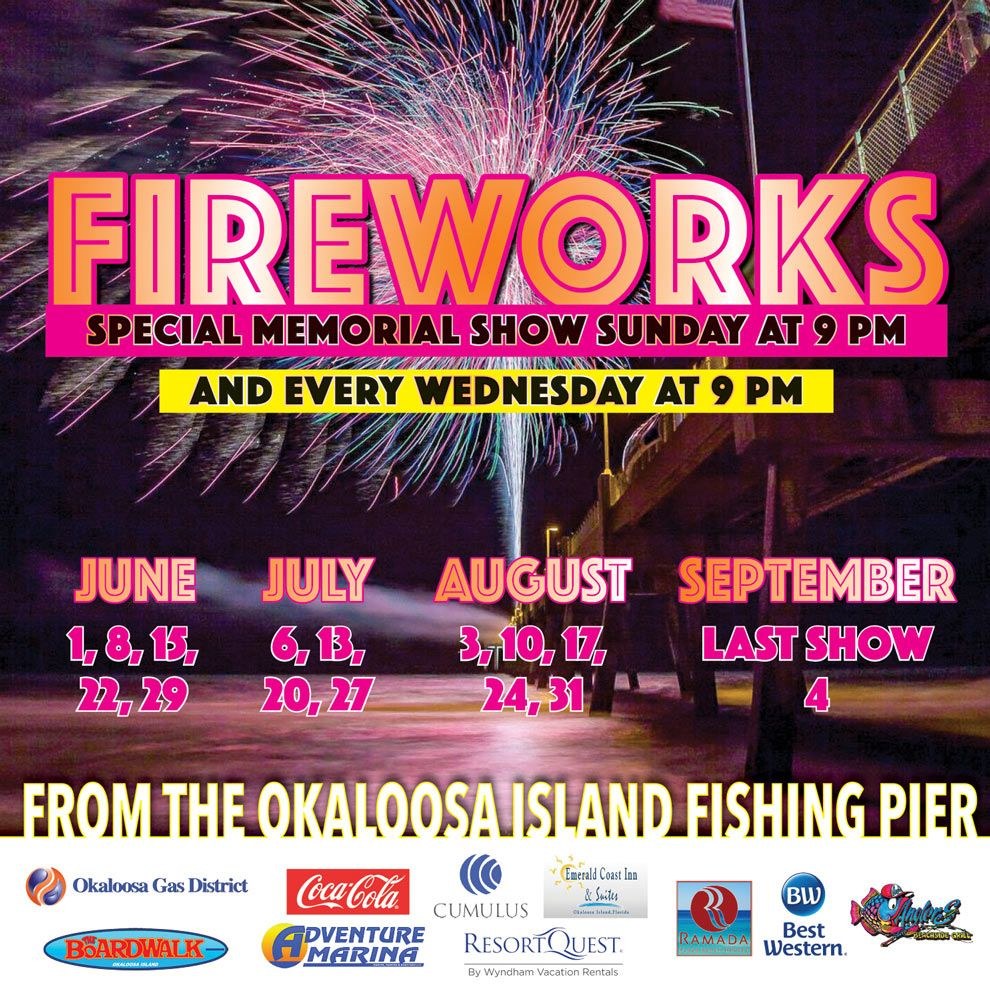 Enjoy A Beautiful Fireworks Displays From The Okaloosa Fishing Pier Ever Beach Vacation Packing Pier Fishing Emerald Coast Florida