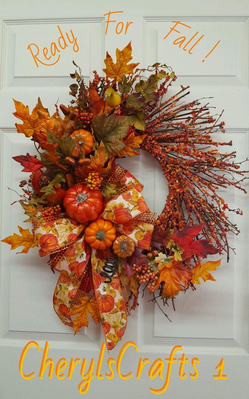 Fall Wreath,Pumpkin Grapevine Door Wreath,Thanksgiving Wall Decor ...