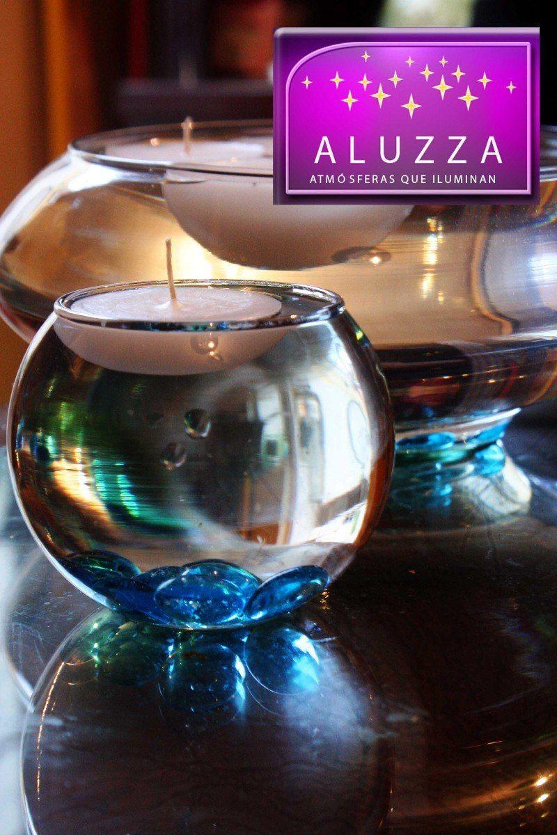 Peceras de cristal con velas flotantes y gemas aluzza for Centros de mesa con peceras