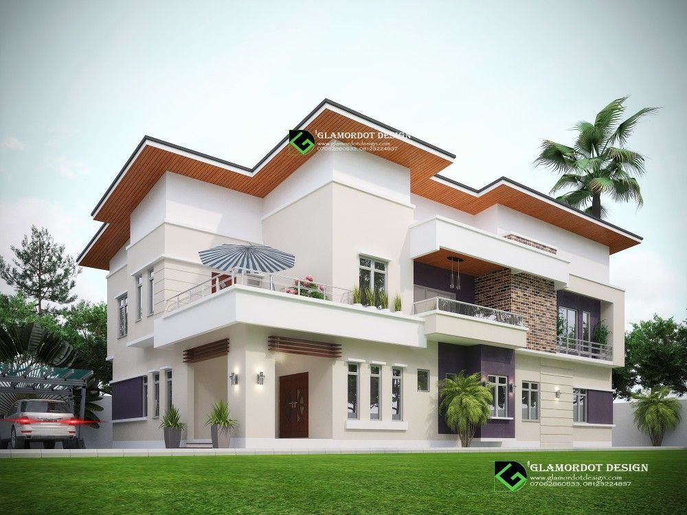 Proposed 5 Bedroom Modern Duplex House Plan All Rooms Ensuit Plot Size 450sqm Duplex House Plans Duplex House House Styles