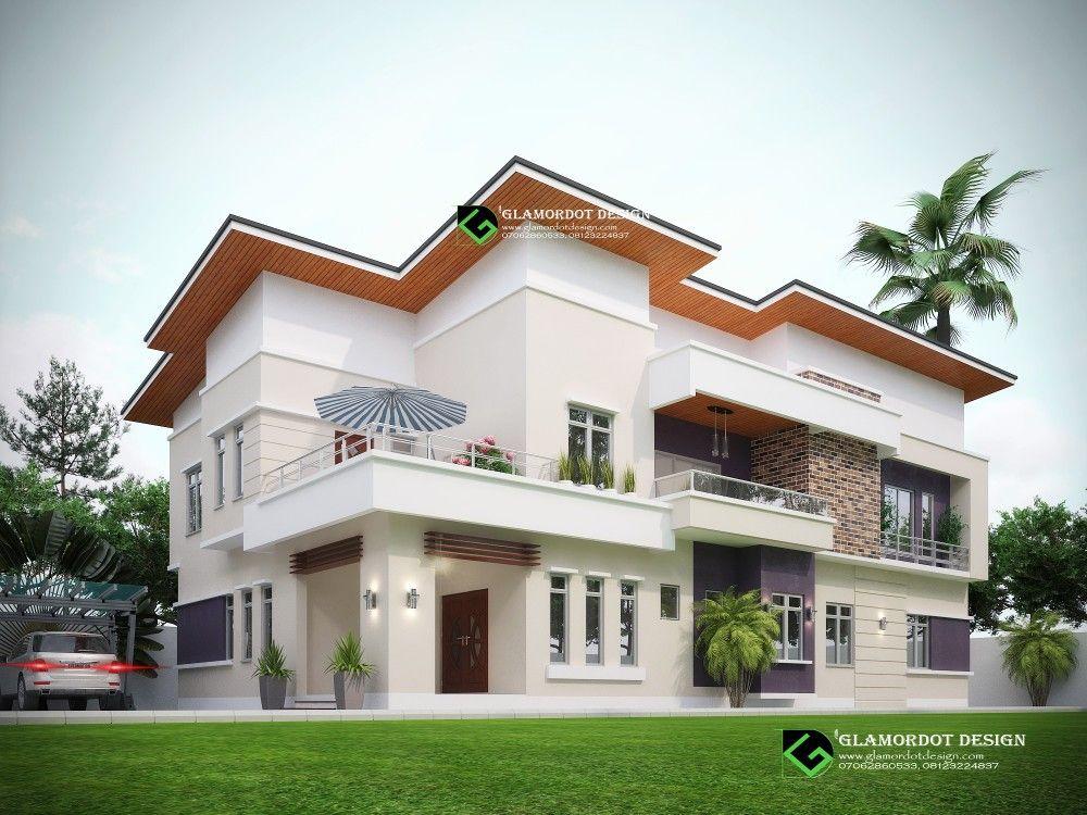 Proposed 5 Bedroom Modern Duplex House Plan All Rooms Ensuit Plot Size 450sqm Duplex House Plans Duplex House House Styles