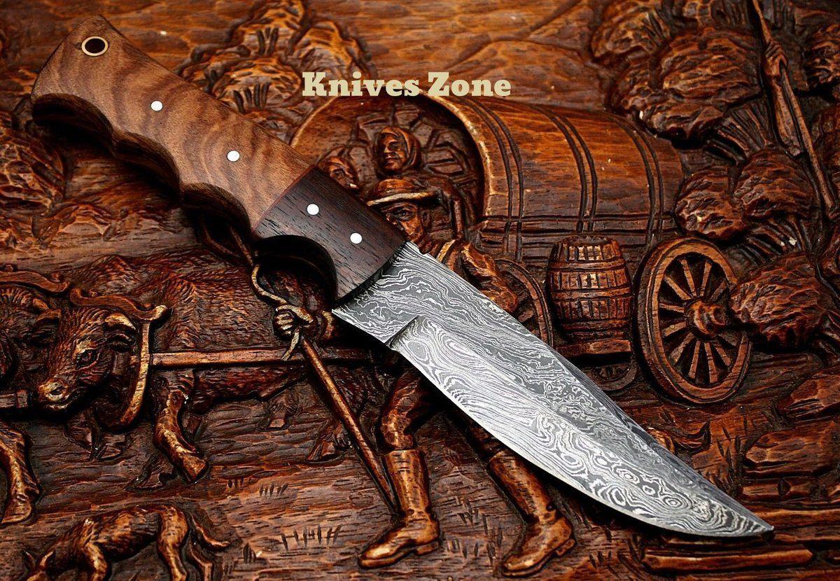 Knives Zone 84 Custom Handmade Damascus Steel Kowa Wood Handle Knife Hunting Knife Damascus Steel Knife