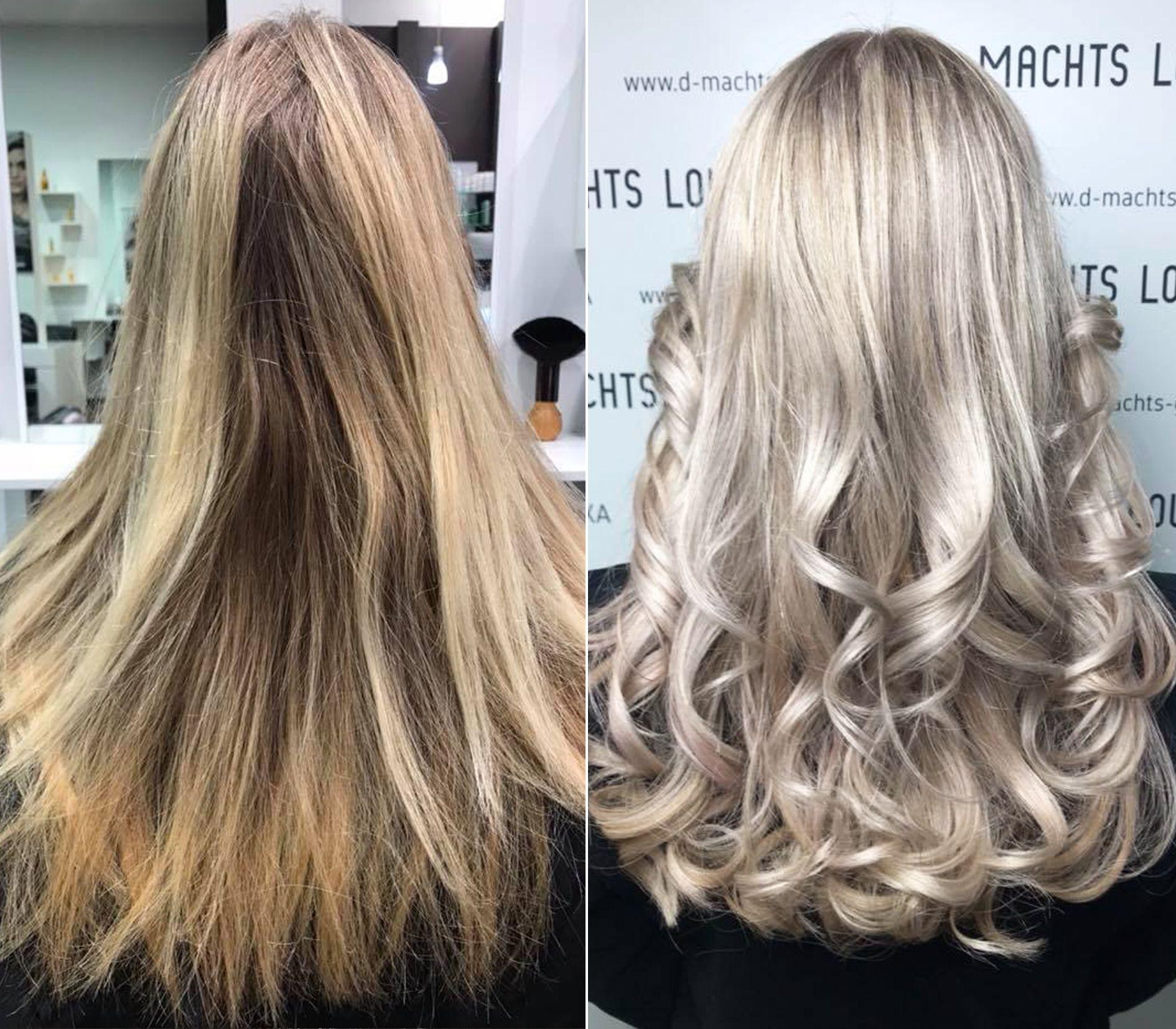 Vorher Nachher Haarfarbe Blond D Machts Lounge Alexa Friseur