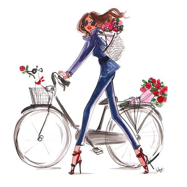 Never enough roses #spring #roses #flowers #fashion #illustration #fashionillustration #bike #izaksmuse #lolasworld #izakzenou