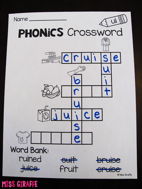 Phonics crossword puzzles and other great phonics worksheets and ...