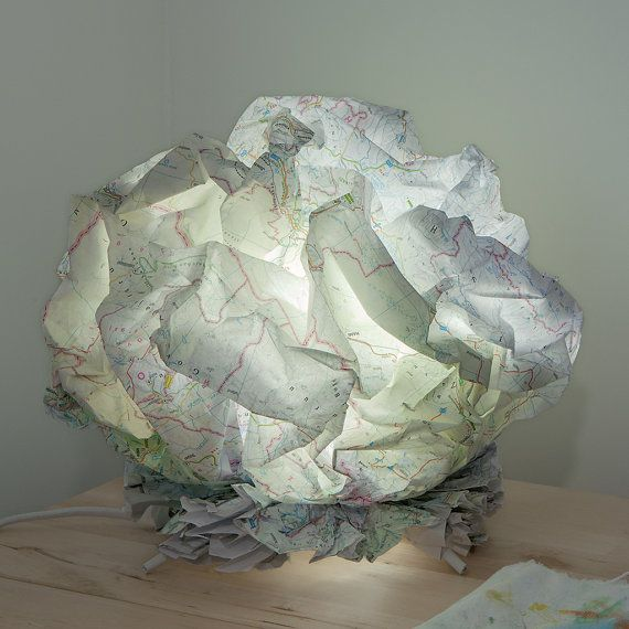 """""""CH/1"""", Handmade table lamp made, China map, by LeLuxographe"""