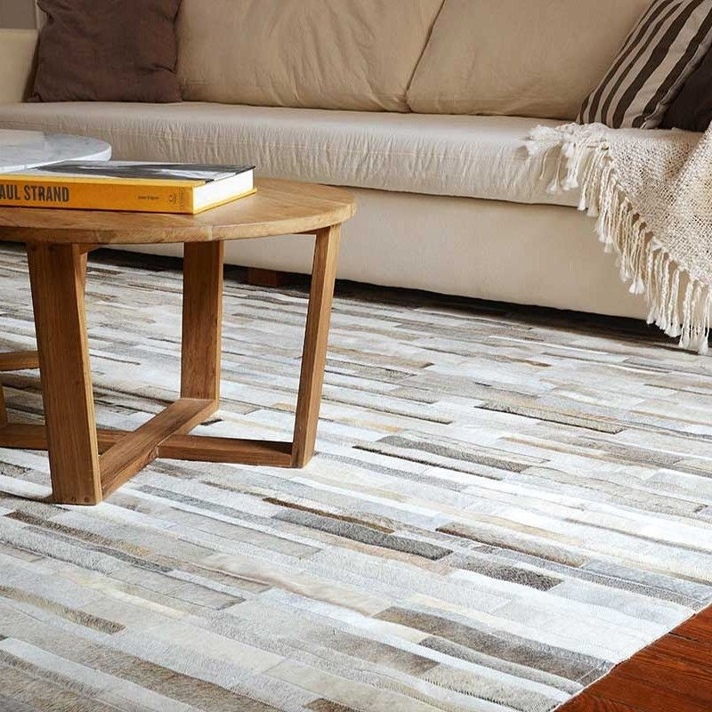 Best Design Patchwork Cowhide Rug In Brown Gray And Taupe Stripes