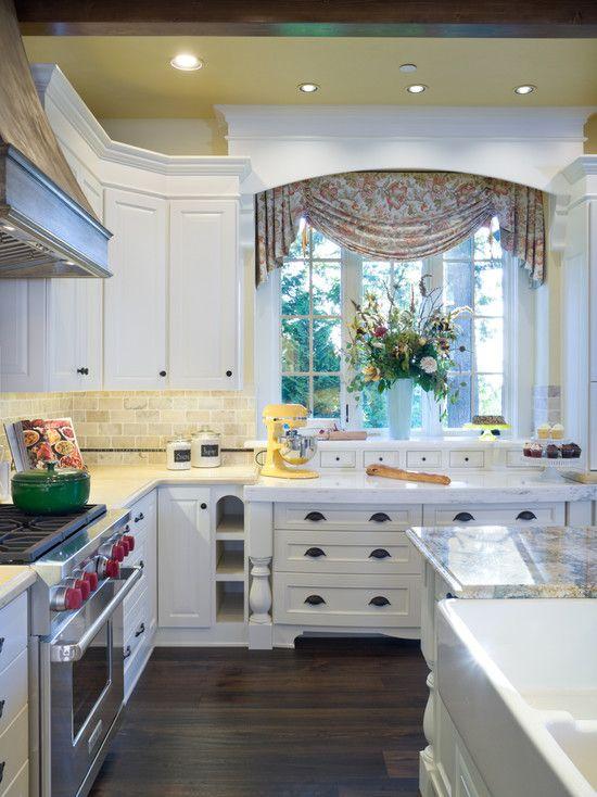 Kitchen Bay Windows. Lower Prep Area Below. Drawers Below Window Shelf