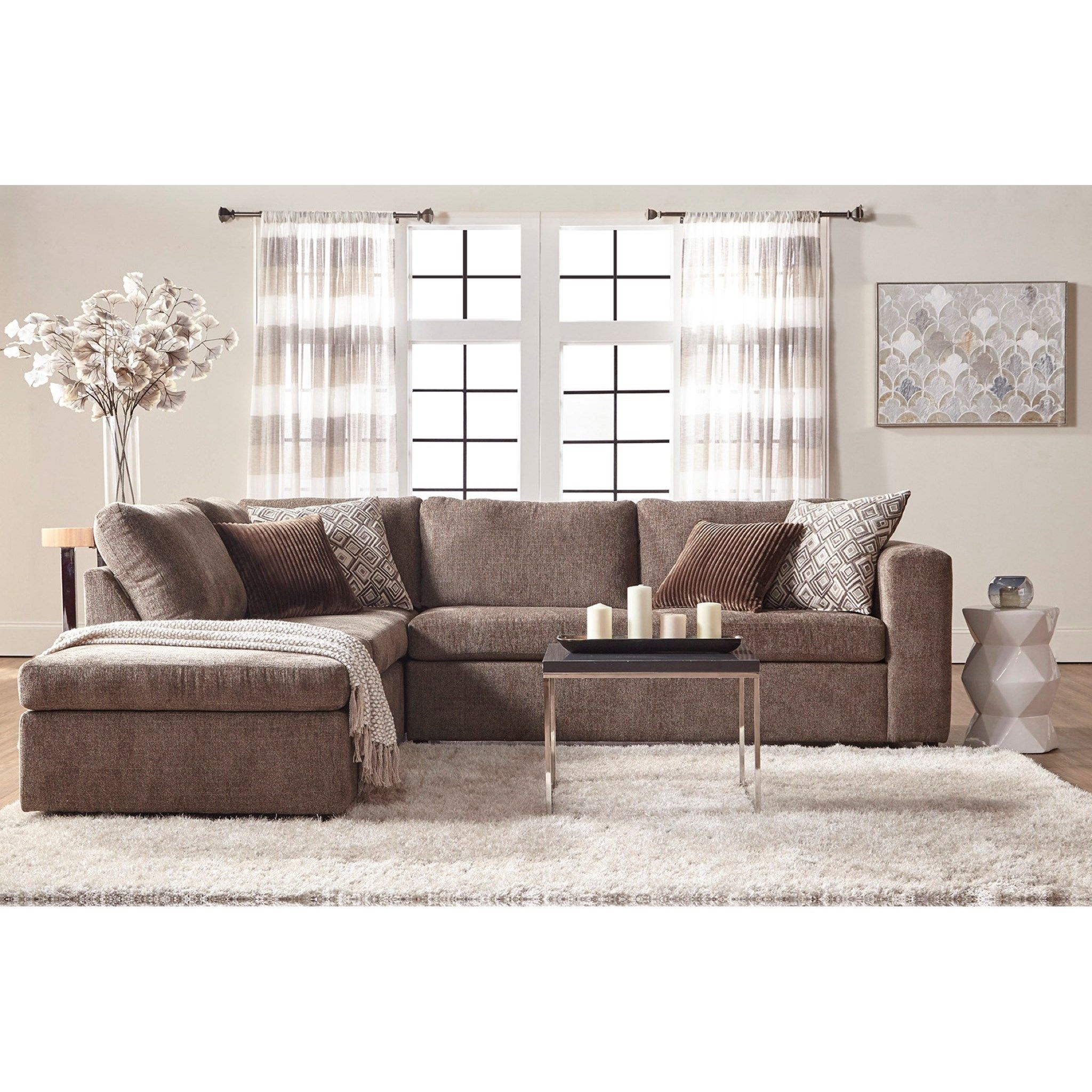 1100 Casual Contemporary Sectional Sofa With Chaise By Serta