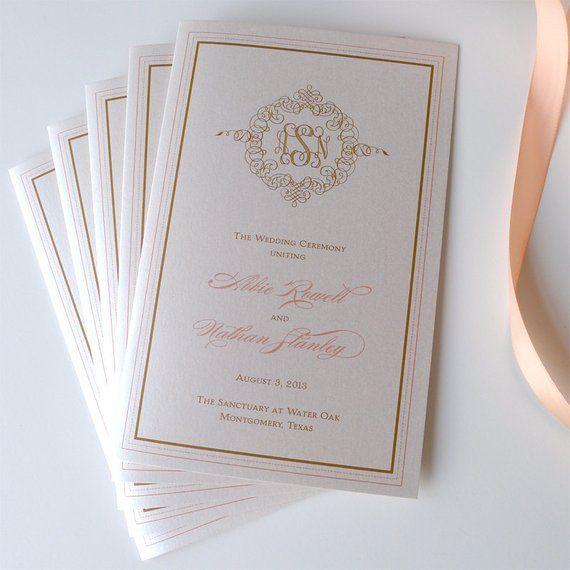 Deluxe Monogram Wedding Ceremony Programs With Ribbon Ties