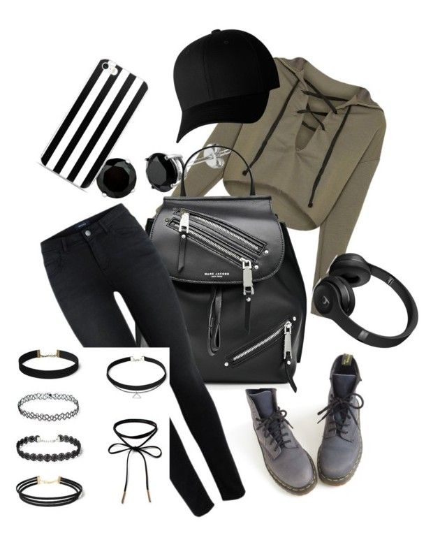 """""""Slytherin Outfit Inspirations #1 :)"""" by littletinybutterflies ❤ liked on Polyvore featuring Rosendahl, Dr. Martens, Marc Jacobs and Flexfit"""