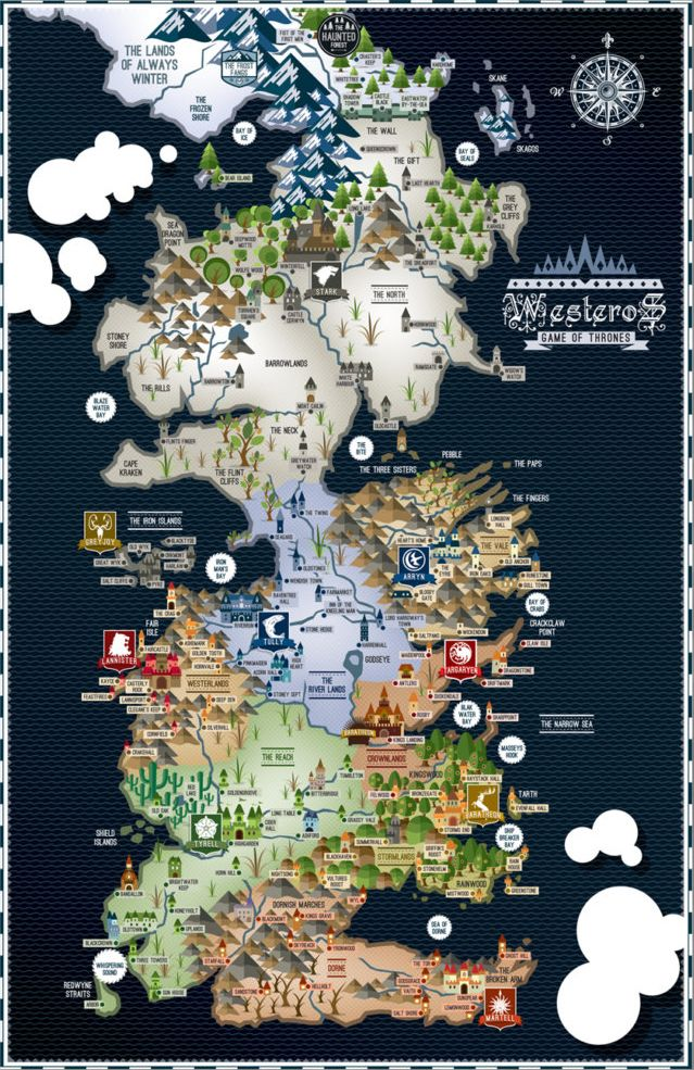 got karte Map of Westeros (Game of Thrones) | Favorite Places & Spaces