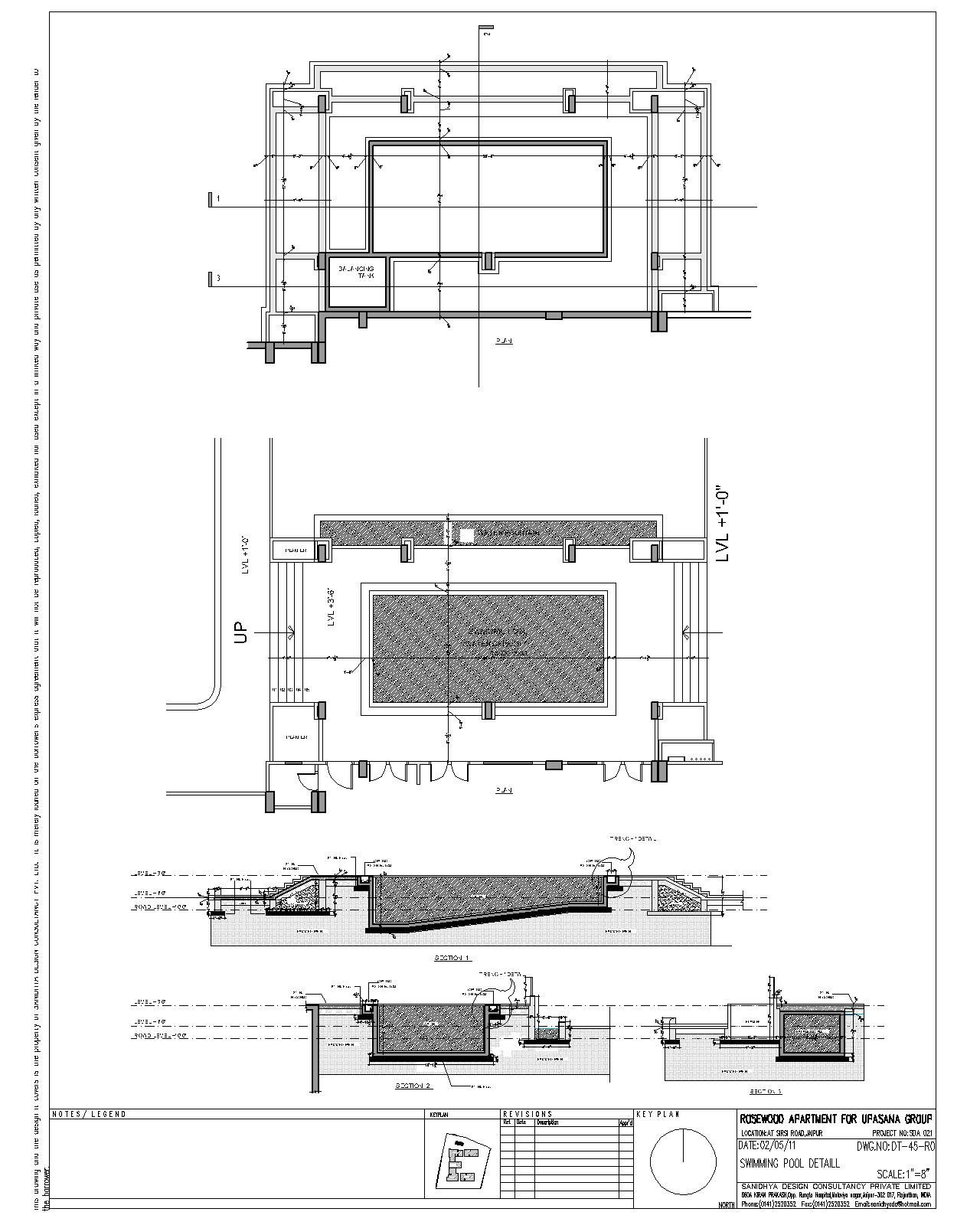 Swimming pool section detail infinity for Pool design engineering