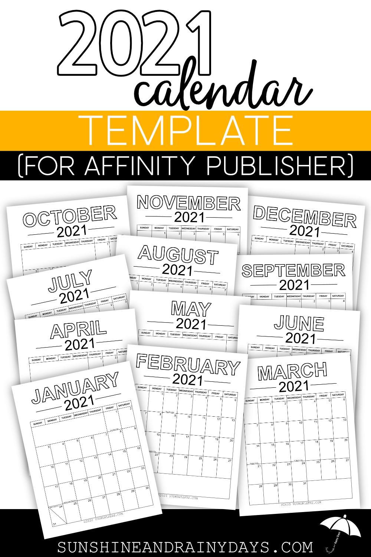 Publisher Calendar Templates 2021 2021 Calendar Template (for Affinity Publisher) in 2020 | Calendar
