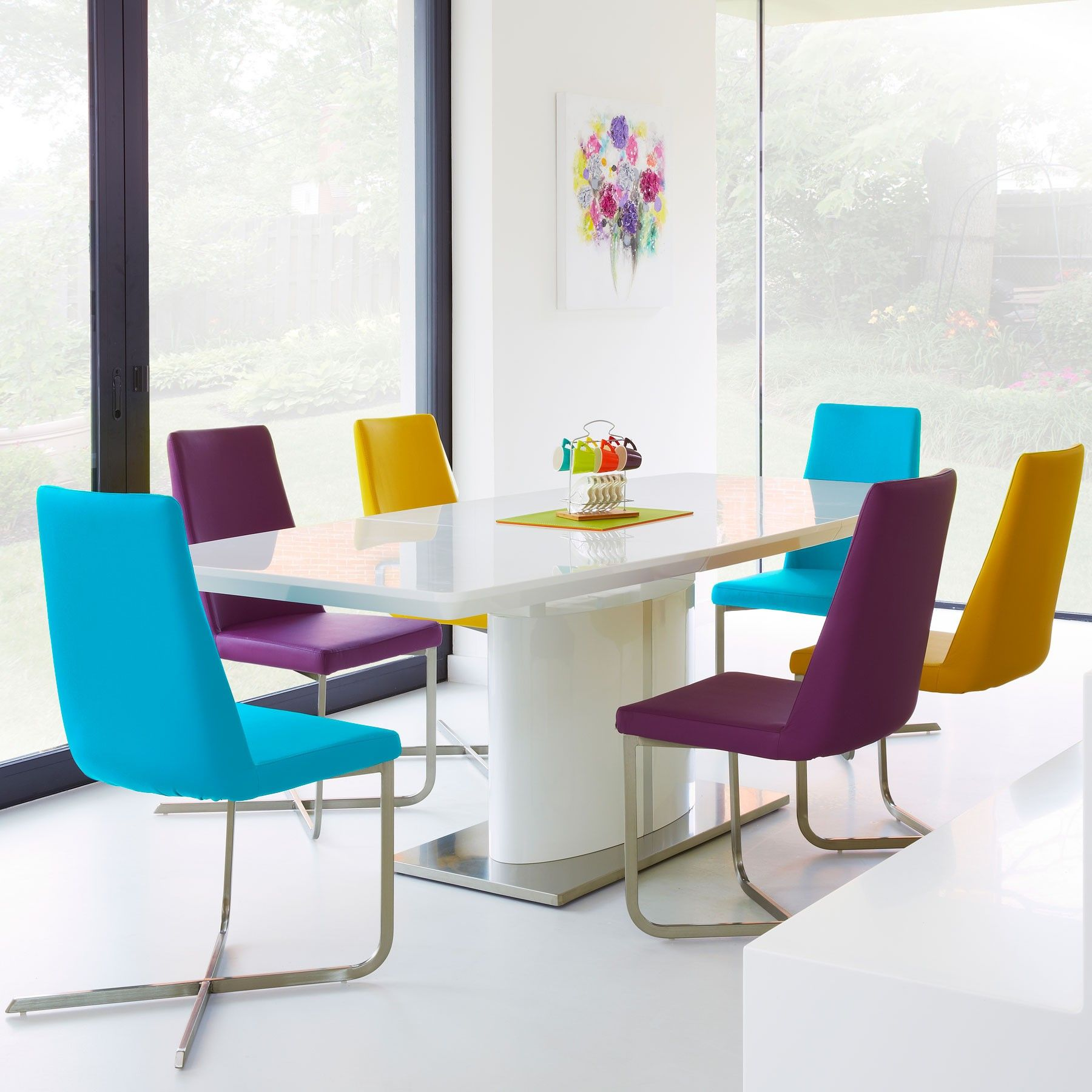 low priced 1e9ff 7d133 Calia White High Gloss Dining Table and 6 White Chairs ...