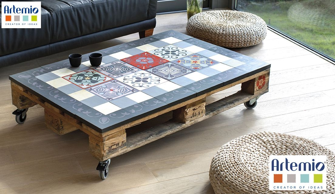 table basse avec effet carreaux de ciment artemio. Black Bedroom Furniture Sets. Home Design Ideas