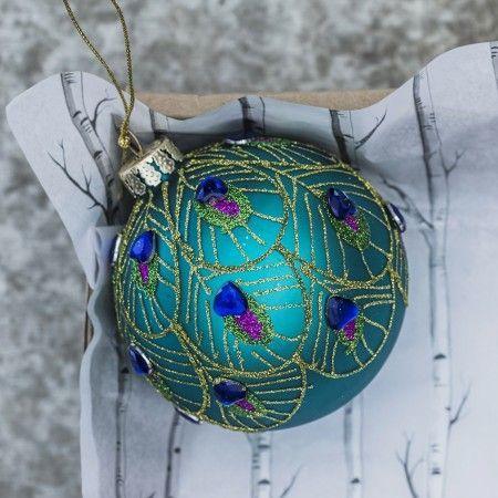 Peacock Feather Glass Ball - Christmas Decorations - Christmas Home - peacock christmas decorations