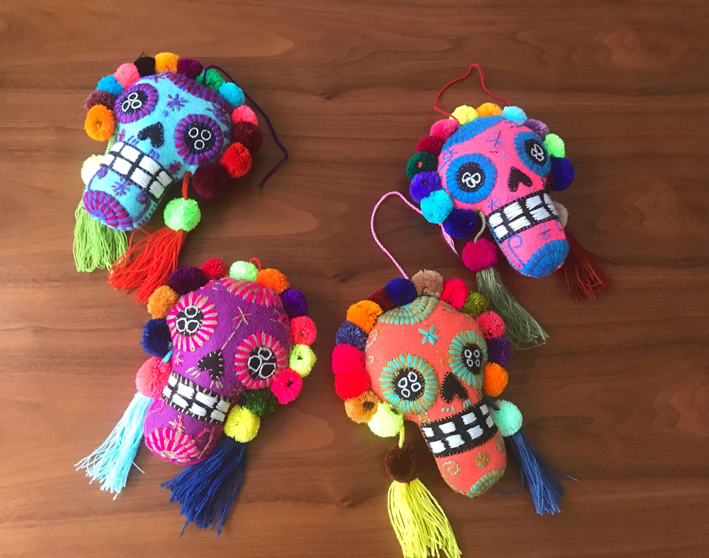Handmade felted sugar skull pompoms / mexican embroidered artisanal ...