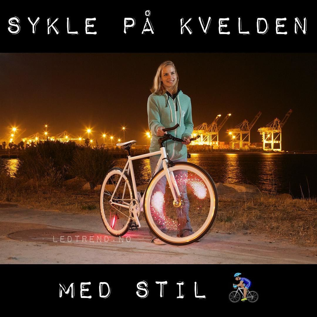 """Led-lys til sykkelhjulene dine. Både kult og trafikkvennlig. Ikke no mer """"jeg ser ikke de syklistene""""... #ledtrend #sykkel #delveien #sykkel #sykkling #sykkelglede #sykkelioslo #sykkelnorge #sykkelbyen #sykkelby #sykkeltrening #syklingmedstil #sykkelmote #syklister #løpingergøy #sykletiljobben #sykletiljobben2016 #sikkerhet #veivesenet #vegvesen #tur #turfolk #gave #mote"""