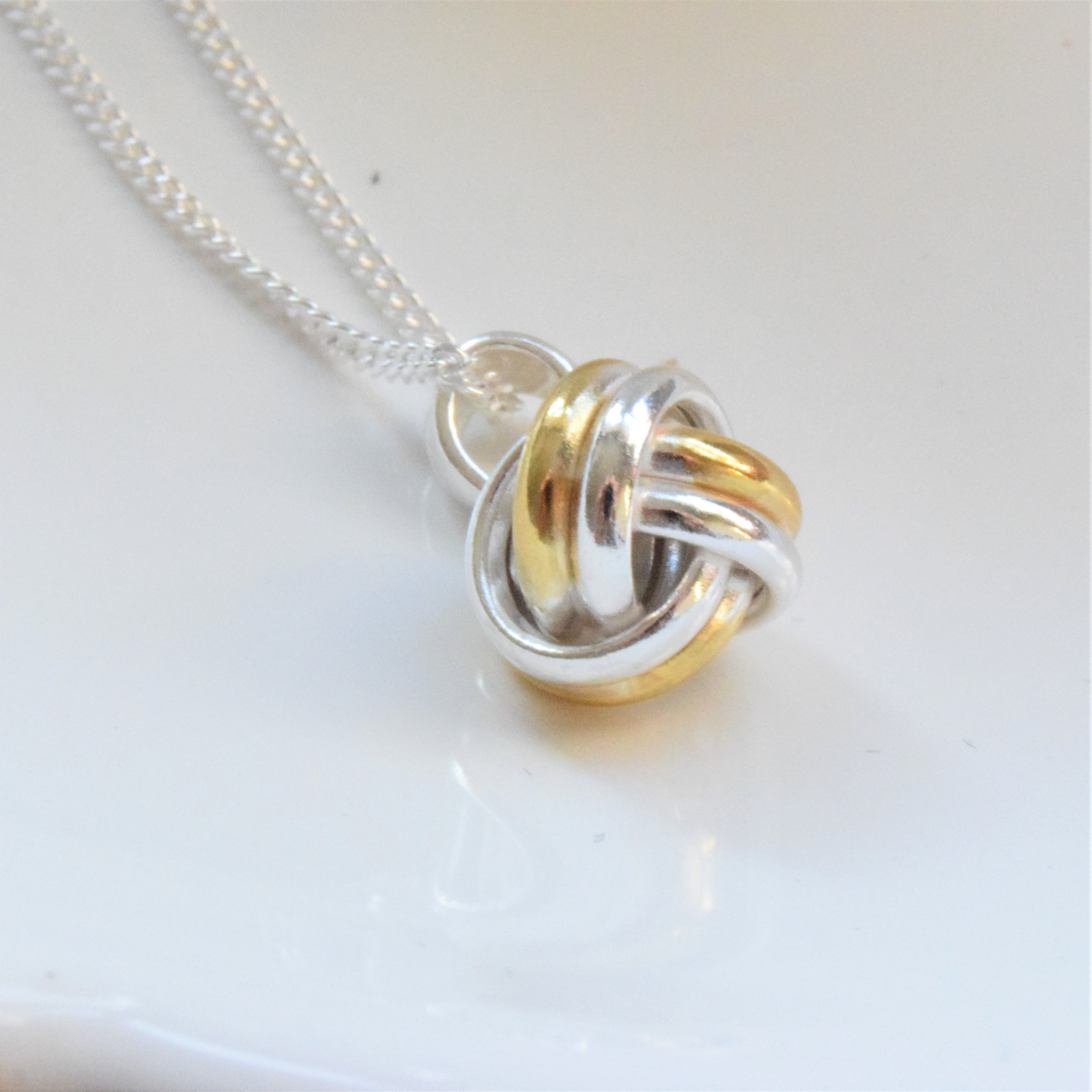 Two Tone Sterling Silver Knot Necklace