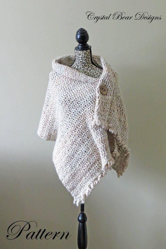 Crochet Shawl PATTERN / Button Wrap / Poncho / Easy Beginner / PDF ...