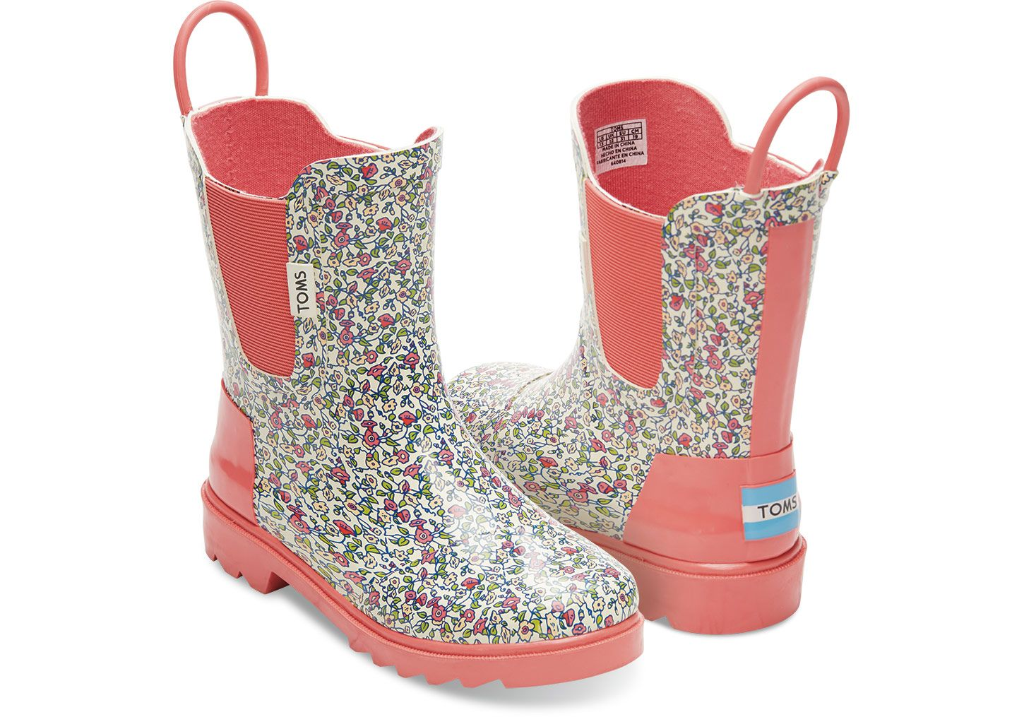 Pink Rubber Ditsy Tiny Toms Rain Boots Toms Boots Kid Shoes Rain Boots