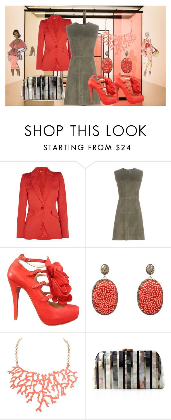 """""""Coral &Grey"""" by deirdre35 ❤ liked on Polyvore featuring Alexander McQueen, Balenciaga, Christian Louboutin, Latelita, Humble Chic, Serpui and Covo"""
