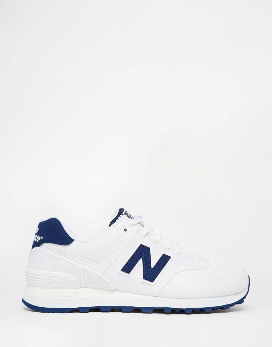 Nouvel Équilibre 574 Baskets Textile Blanc / Bleu Marine Chaussures