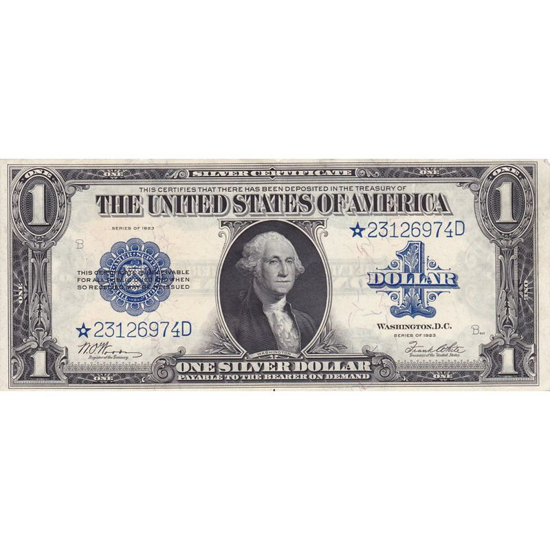 1923 1 Star Silver Certificate Xf Razor Cuts Through Seal And Blue