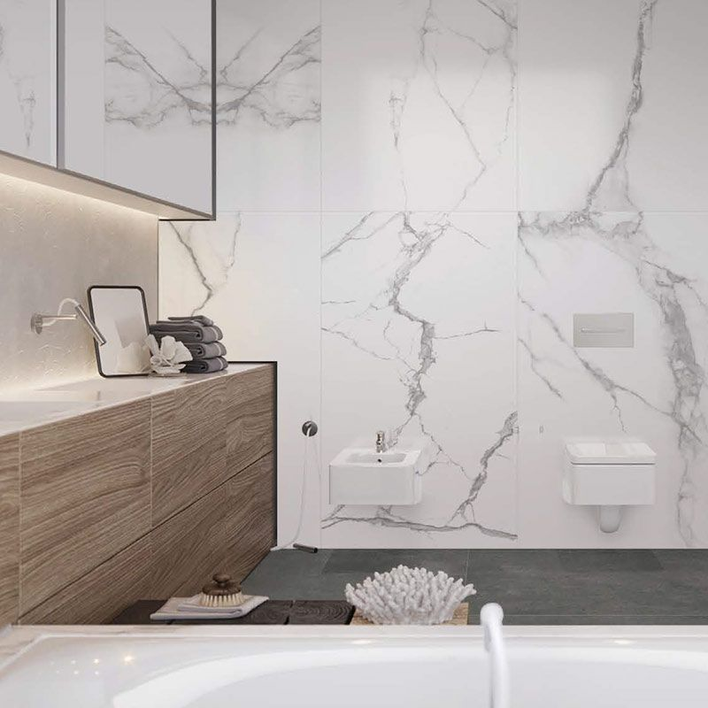 Carrelage Sol Et Mur Marbre Blanc Mat 100x100 Cm Niloka Salledebain Bathroom Bathroomideas Bathroom Marbre Blanc Design Moderne De Salles De Bains Marbre