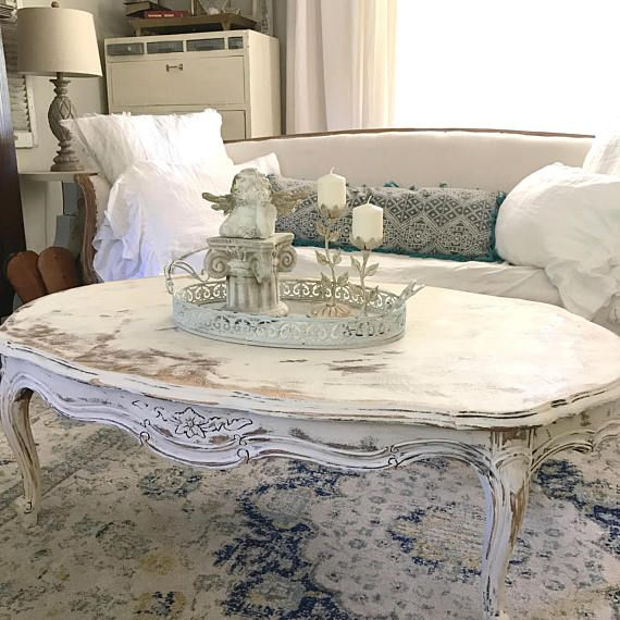 Painted White Coffee Table French Provincial Chippy Distressed