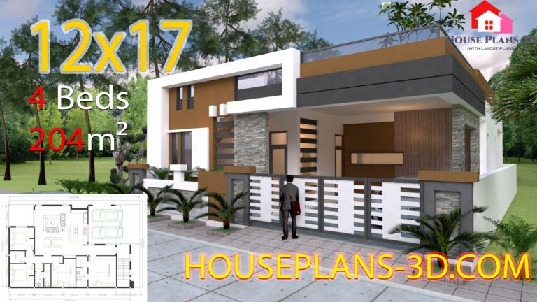 House Design 12x17 With 4 Bedrooms Terrace Roof Bungalow House Design House Design House Plans