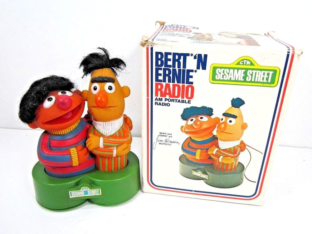 1976 Sesame Street Bert Ernie Am Radio In Box 1970 S Toy