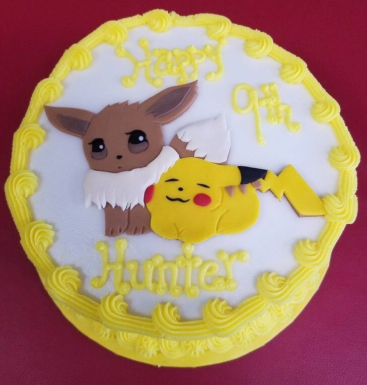 Wondrous Pikachu And Eevee Cake Pokemon Birthday Cake Pokemon Birthday Funny Birthday Cards Online Elaedamsfinfo