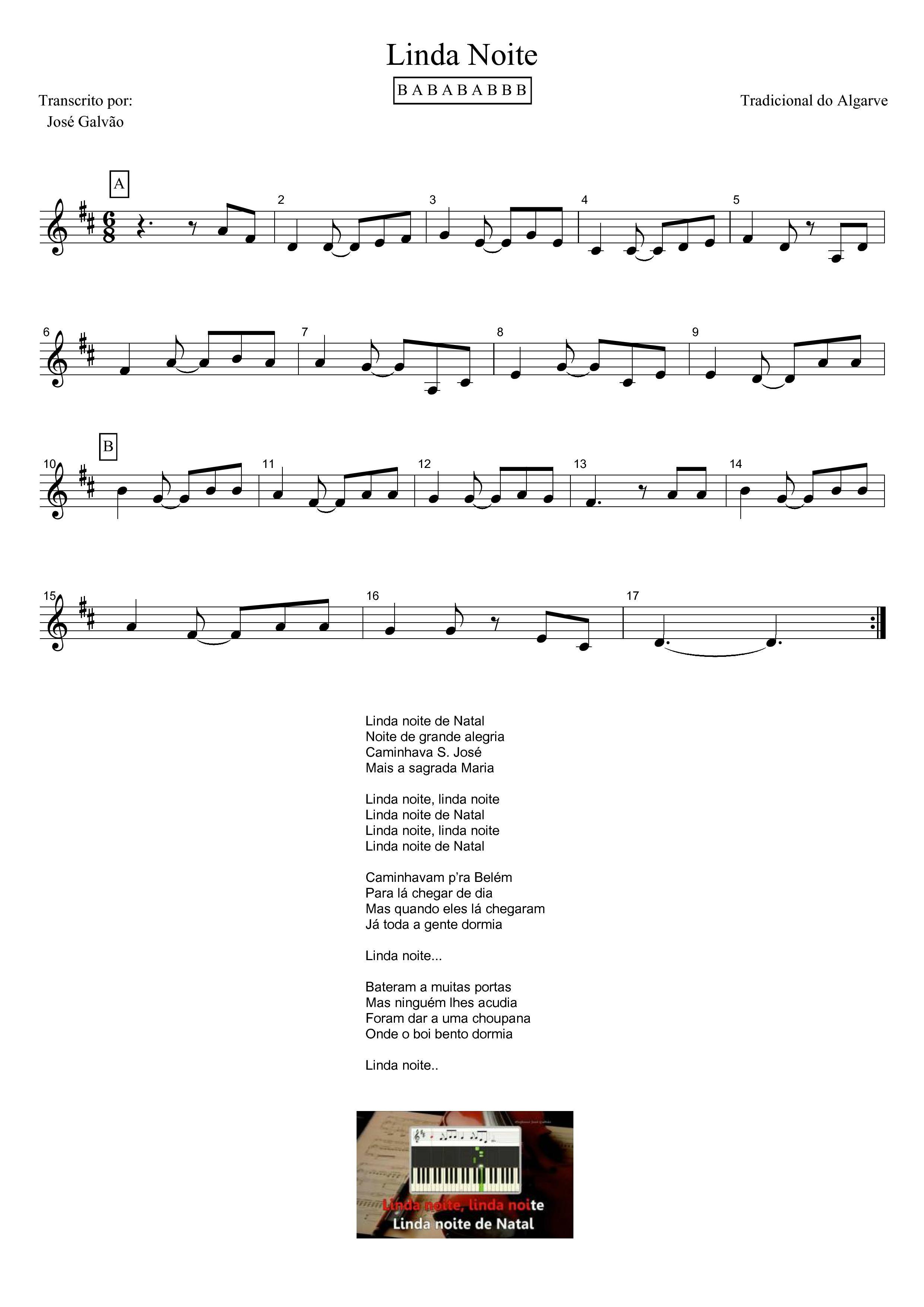 Linda Noite: partitura e letra.