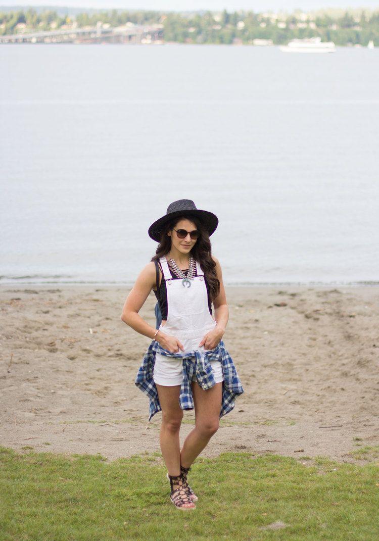 "Madewell Adirondack Short Overalls, Steve Madden Maybin Sandals, Ray-Ban RB4222 Sunglasses, Baublebar ""Capri"" Amulet Necklace,  Music Festival Fashion Summer 2016"