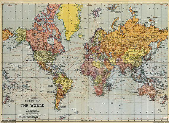 28 x 20 in Vintage World Map Poster Etsy, Vintage and Room - best of world map poster time zones