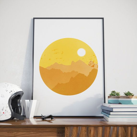 Sunny Day with Flying Birds Wall Art, Egyptian Print with Sunny ...