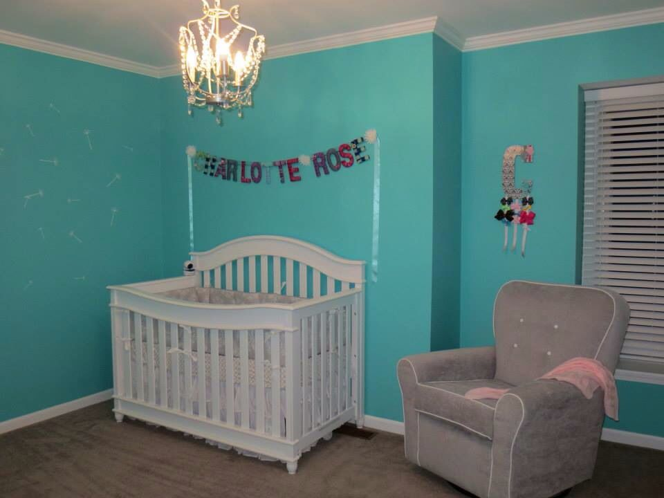 Tiffany blue girls nursery / ikea chandelier / etsy vinyl dandelion decals  / DIY yarn wrapped