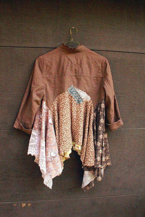 REVIVAL Womens Upcycled Boho Shirt, Jacket, Junk Gypsy, Shabby Chic, Romantic, Size Small to Medium, Recycled, Repurposed, EcoFriendly
