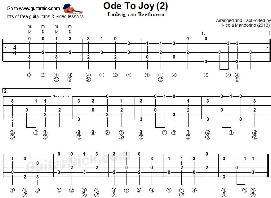 ode to joy guitar pdf