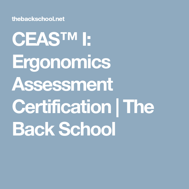 Ceas I Ergonomics Assessment Certification The Back School