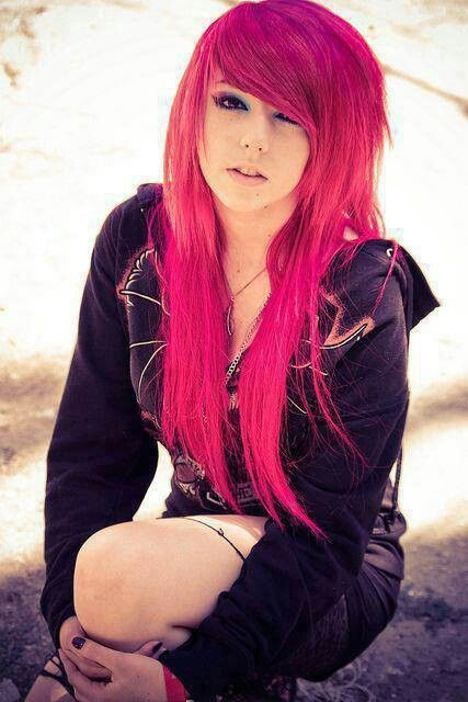 girls Emo purple teen hair with